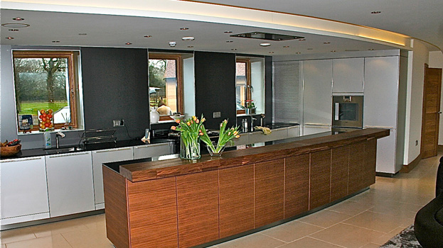 Bespoke kitchen in hampshire curved thatched house bulthaup winchester