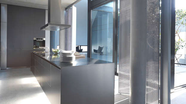 Luxury kitchen from bulthaup in dark grey aluminium